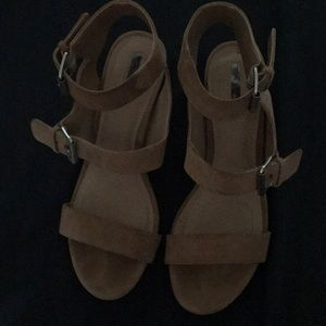 Suede wedge sandals, only worn once